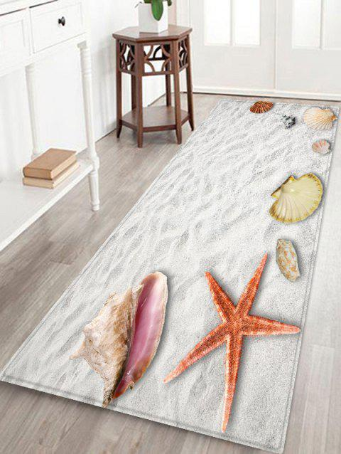 Beach Starfish Shell Print Floor Mat - CRYSTAL CREAM W24 X L71 INCH