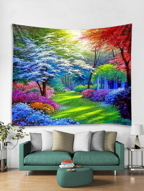 Colorful Forest Trail Print Tapestry Wall Hanging Art Decoration - RED W59 X L51 INCH