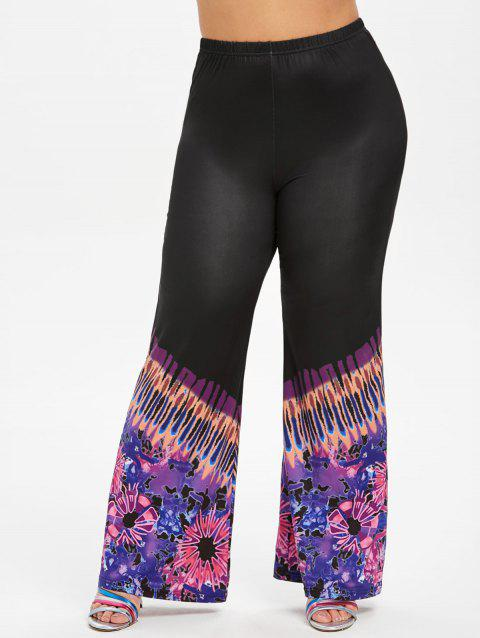 Printed High Waisted Boot Cut Plus Size Pants - BLACK L