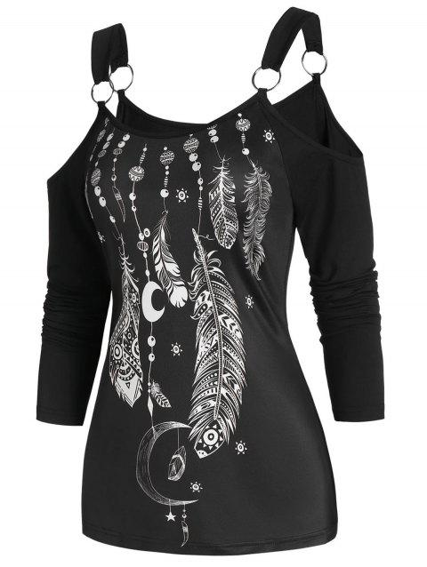U Neck Open Shoulder Feather Print T Shirt - BLACK 3XL