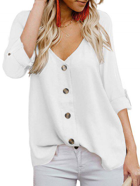Plunging Button Up Roll Tab Blouse - WHITE XL