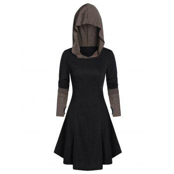 Hooded Glove Sleeve Lace-up Contrast Flare Dress