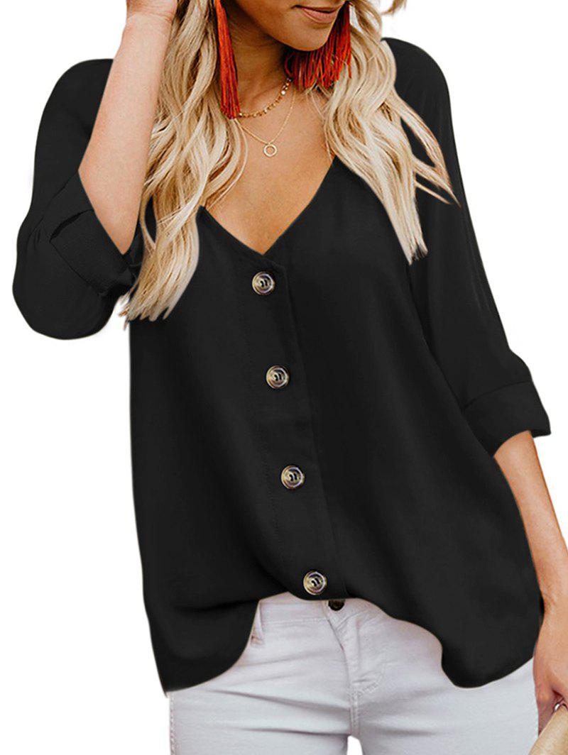 Plunging Button Up Roll Tab Blouse - BLACK XL