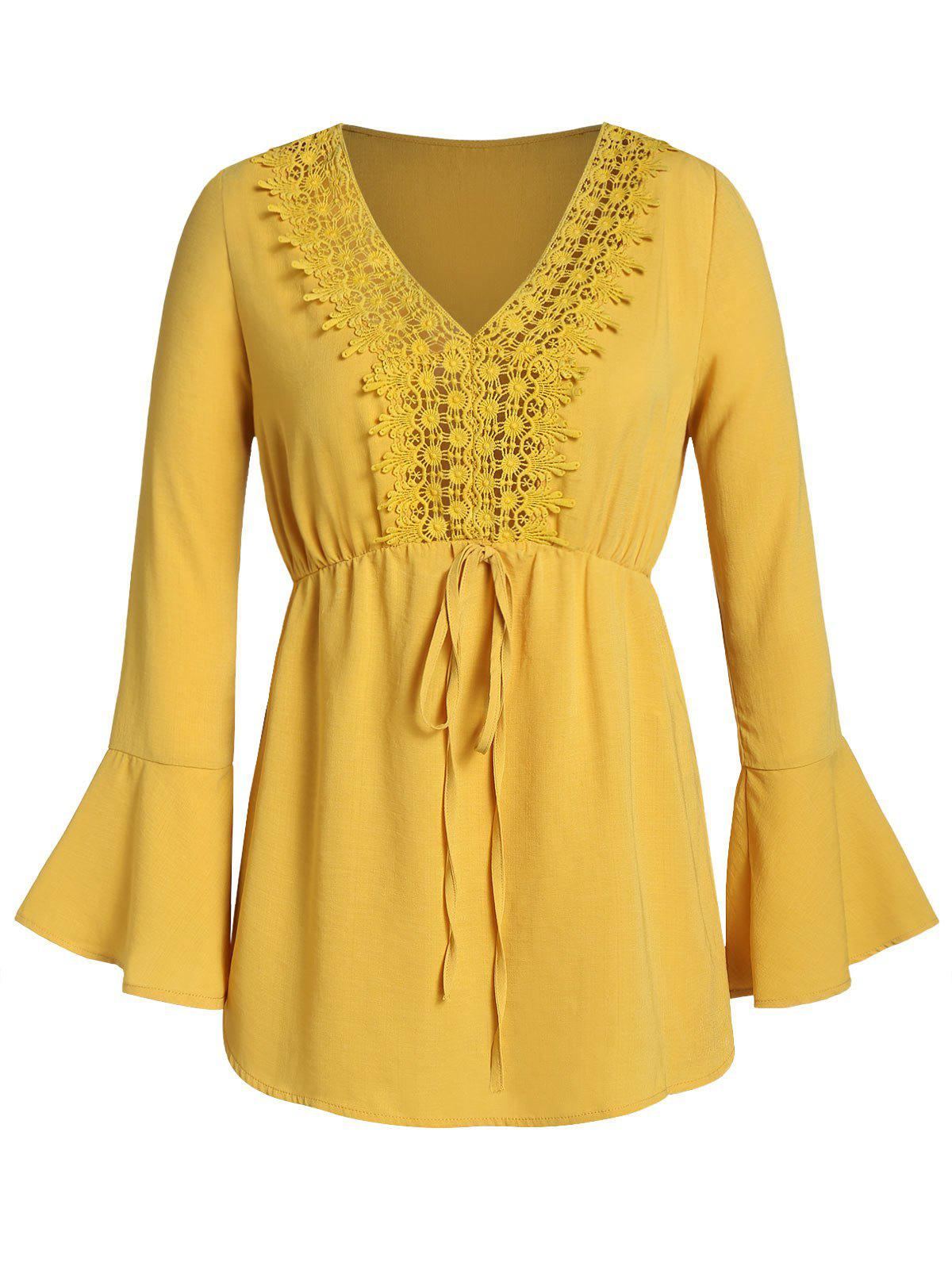 Plus Size Crochet Panel Bell Sleeve Tied Detail Blouse - GOLDENROD L