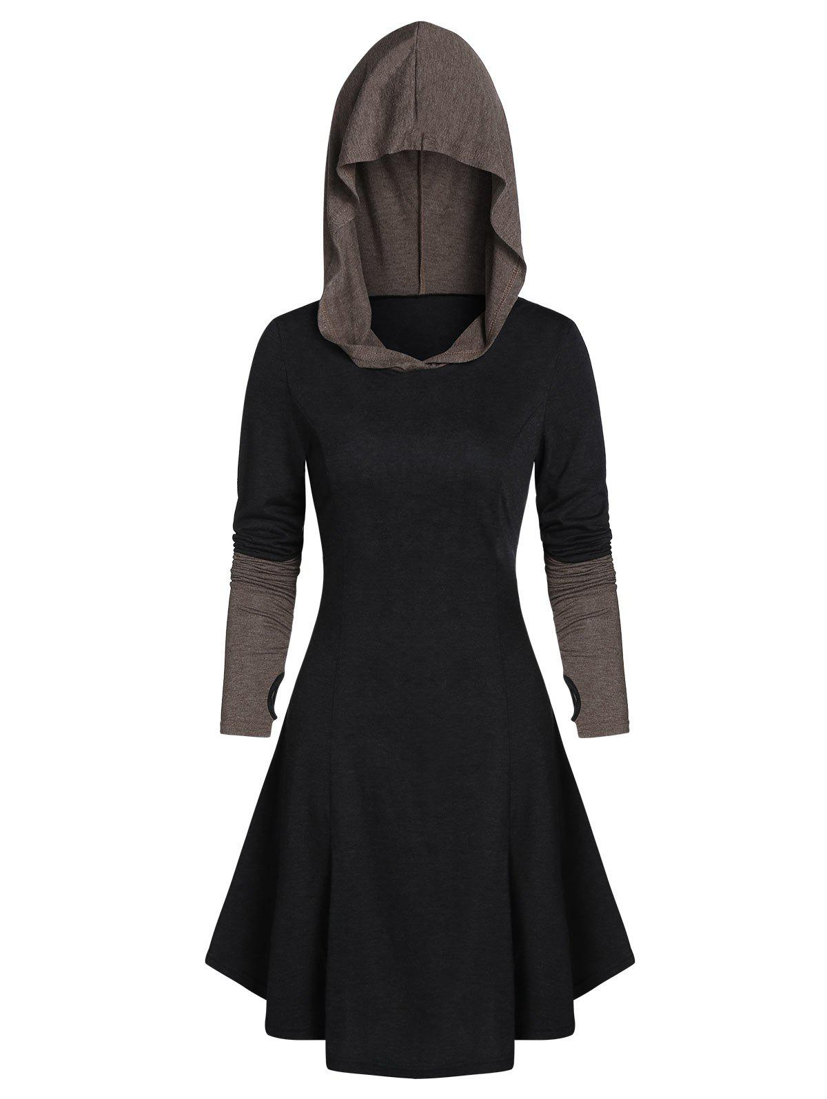 Hooded Glove Sleeve Lace-up Contrast Flare Dress - DARK SLATE GREY M