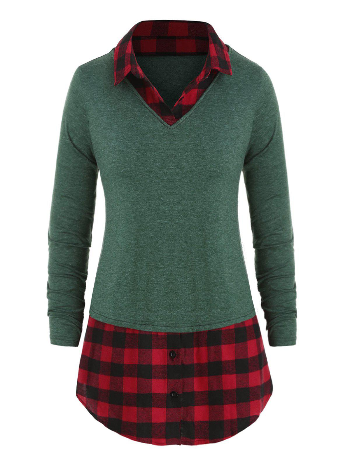 Plus Size Plaid Trim Heather Tunic T-shirt