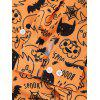 Skull Pumpkin Spider Cat Print Halloween Shirt - DARK ORANGE 2XL