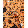 Skull Pumpkin Spider Cat Print Halloween Shirt - DARK ORANGE M