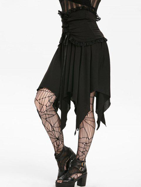 Halloween Asymmetrical Lace Panel High Rise Handkerchief Gothic Skirt - NIGHT M