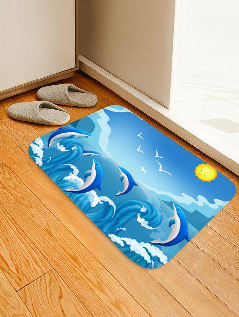Dolphin Huge Sea Waves Print Area Rug - SKY BLUE W16 X L24 INCH