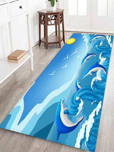 Dolphin Huge Sea Waves Print Area Rug - SKY BLUE W24 X L71 INCH
