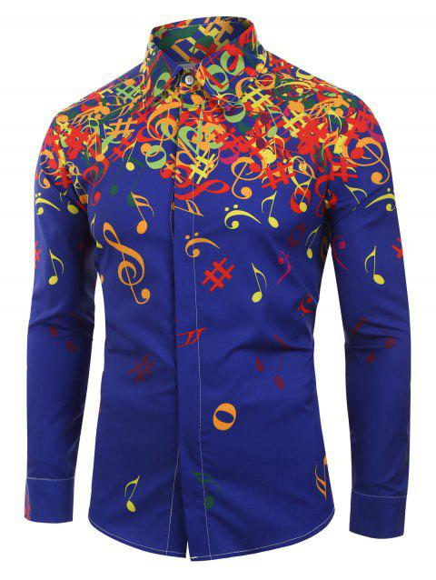 Musical Note Pattern Long Sleeves Shirt - BLUE M