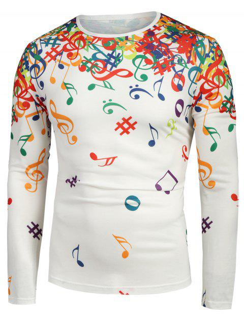 Musical Note Pattern Long Sleeves T-shirt - WHITE S