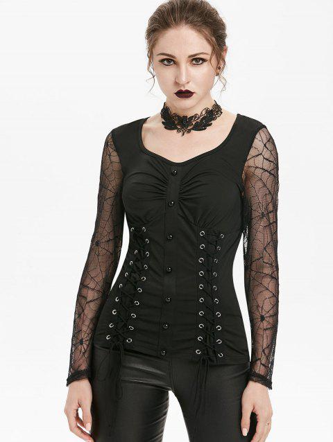 Sheer Lace Up Sweetheart Collar Gothic Halloween T Shirt - BLACK M