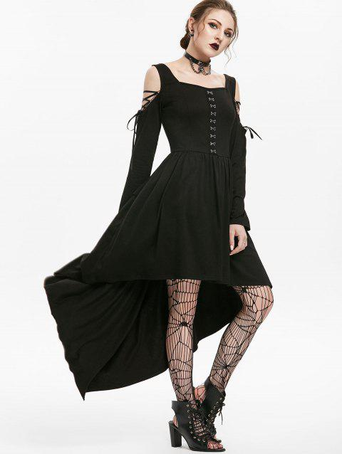 Gothic Lace Up Cold Shoulder Hook Front Dip Hem Dress - BLACK S