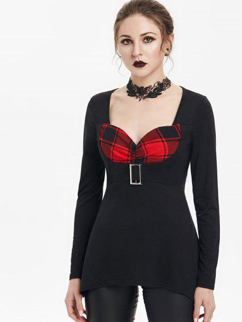 Gothic Plaid Insert Sweetheart Square Buckle T-shirt - RED WINE L