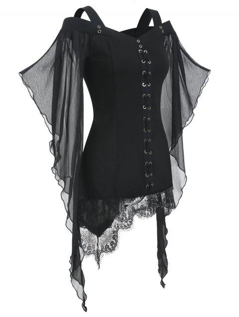 Gothic Criss Cross Lace Insert Butterfly Sleeve T-shirt - BLACK 3XL