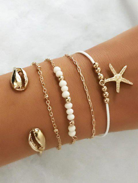 5PCS Metal Shell Starfish Charm Bracelets - GOLD