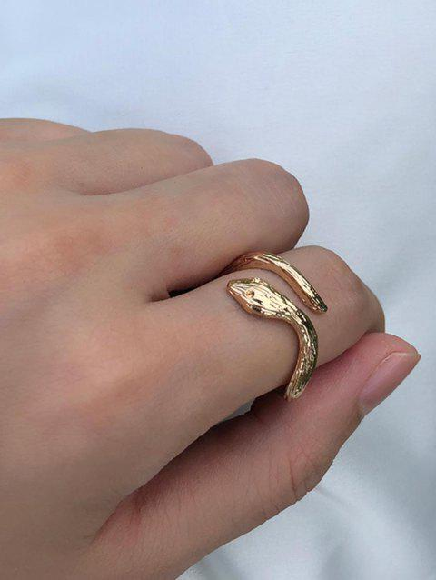 Alloy Snake Cuff Ring - GOLD