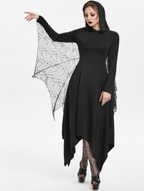 Hooded Handkerchief Maxi Gothic Dress With Bat Wings - BLACK XL