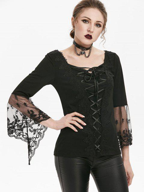 Gothic Lace Up Flare Sleeve Sweetheart T-shirt - BLACK 3XL