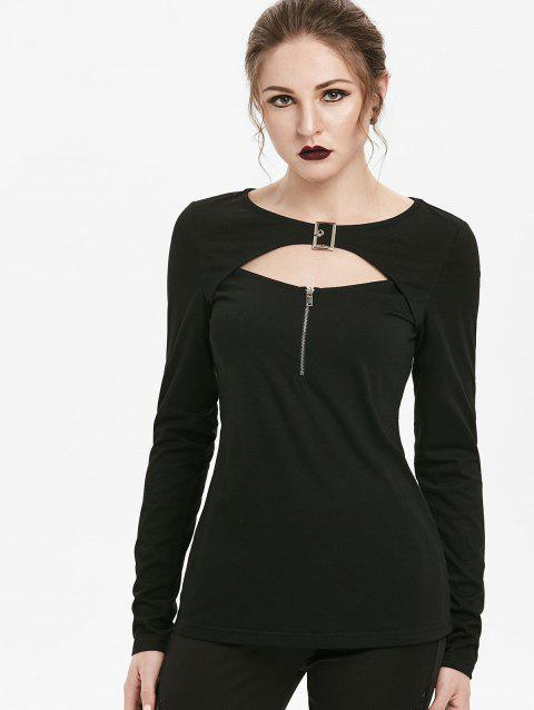 Gothic Front Zip Cut Out Buckle T-shirt - BLACK XL