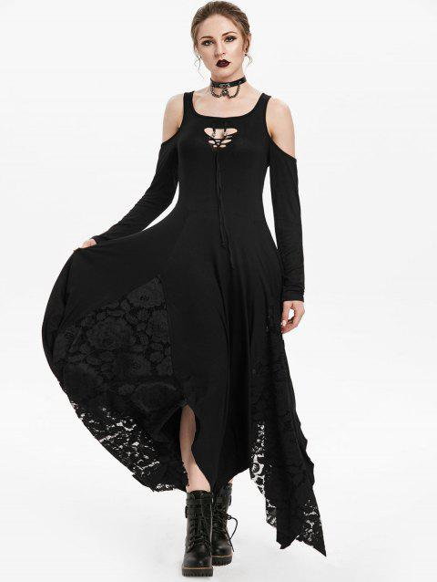 Gothic Cold Shoulder Lace Insert Handkerchief Dress - NIGHT 2XL