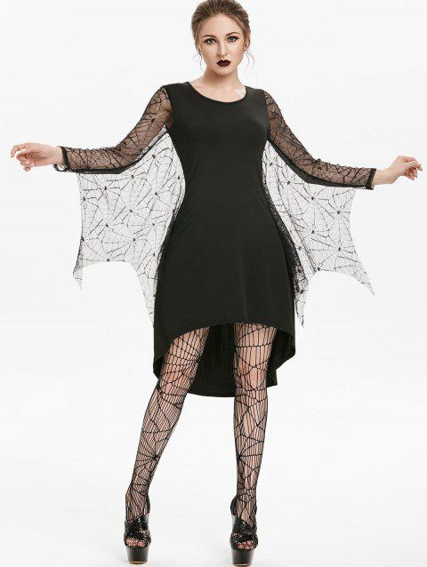 Spider Web Lace Insert High Low Gothic Dress - BLACK M