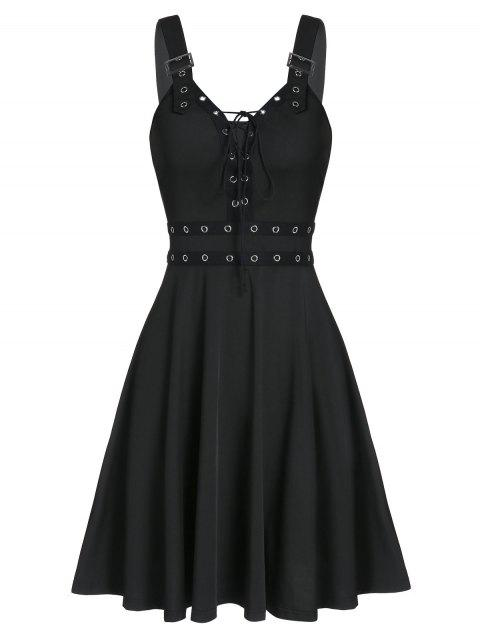Lace Up Solid Fit And Flare Gothic Dress - BLACK XL