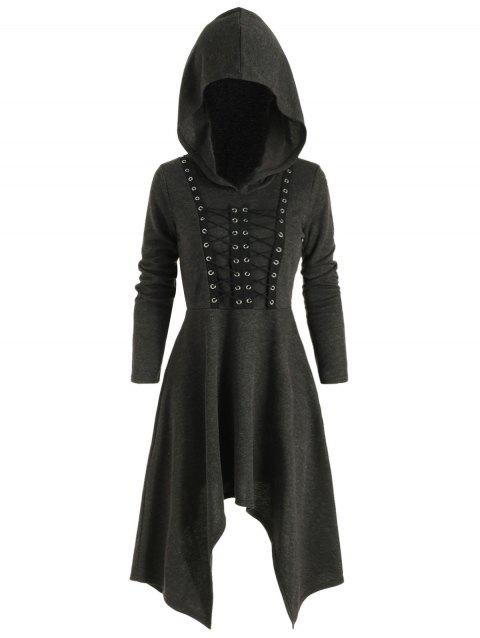 Gothic Hooded Lace Up Handkerchief Dress - BLACK 2XL