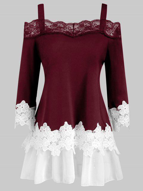 Lace Panel Cold Shoulder Plus Size Top - RED WINE 3X