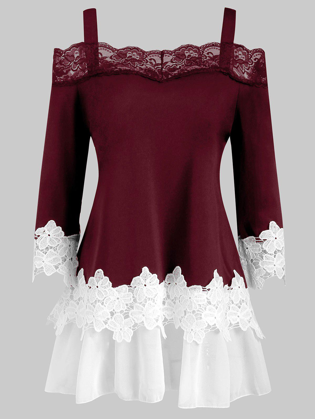 Lace Panel Cold Shoulder Plus Size Top - RED WINE 1X