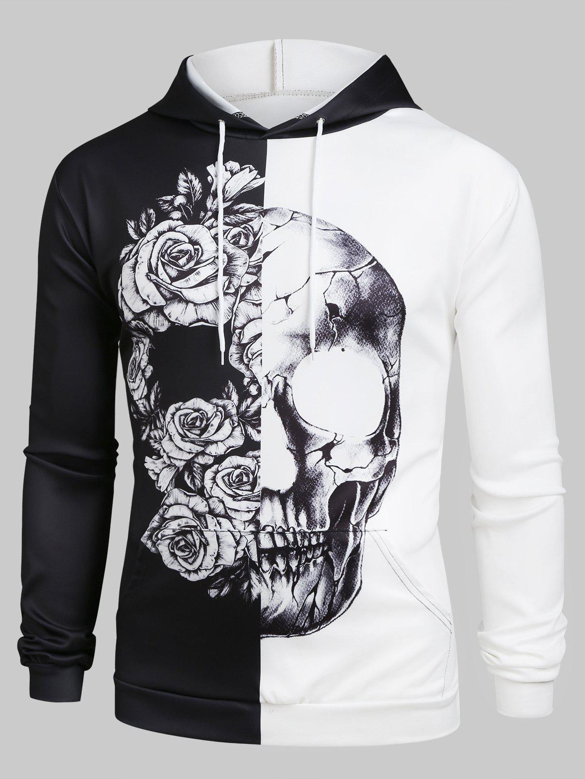 Contrast Floral Skull Design Front Pocket Hoodie - multicolor XL