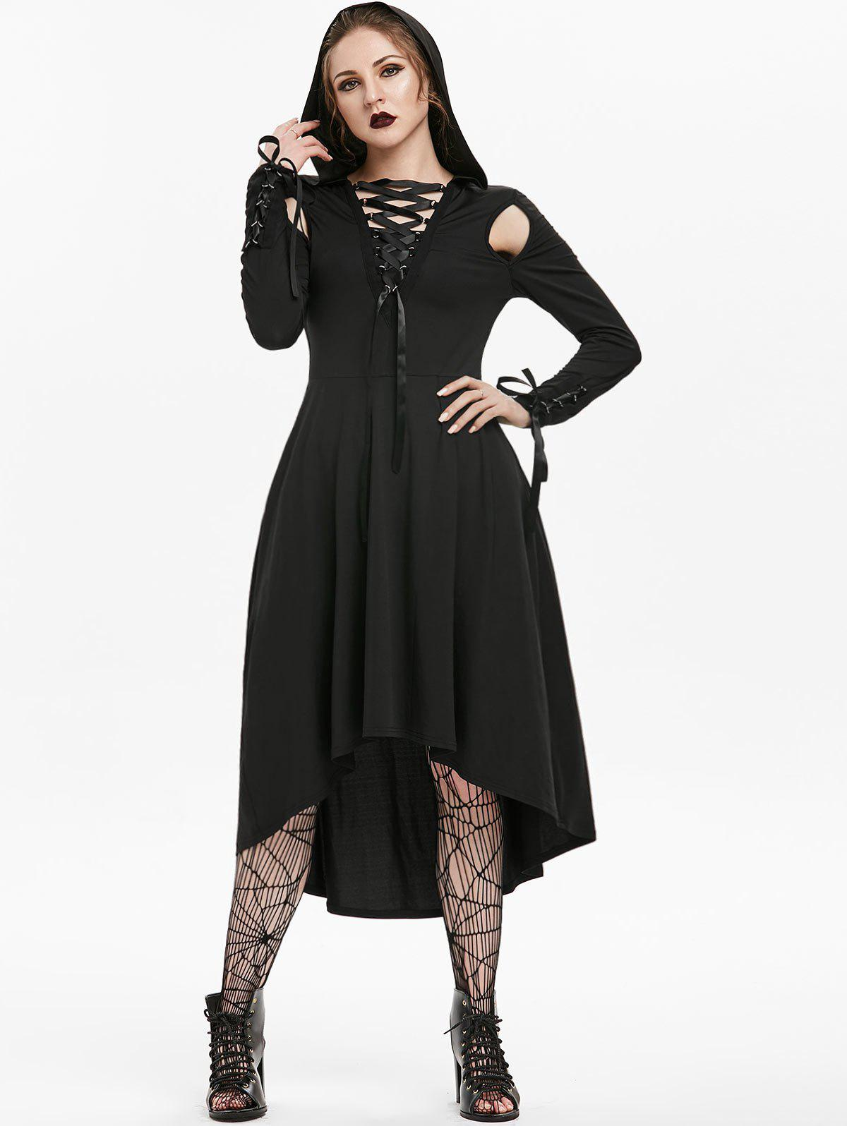 Halloween Hooded Long Sleeve Lace-up Cut Out Gothic Dress - BLACK L