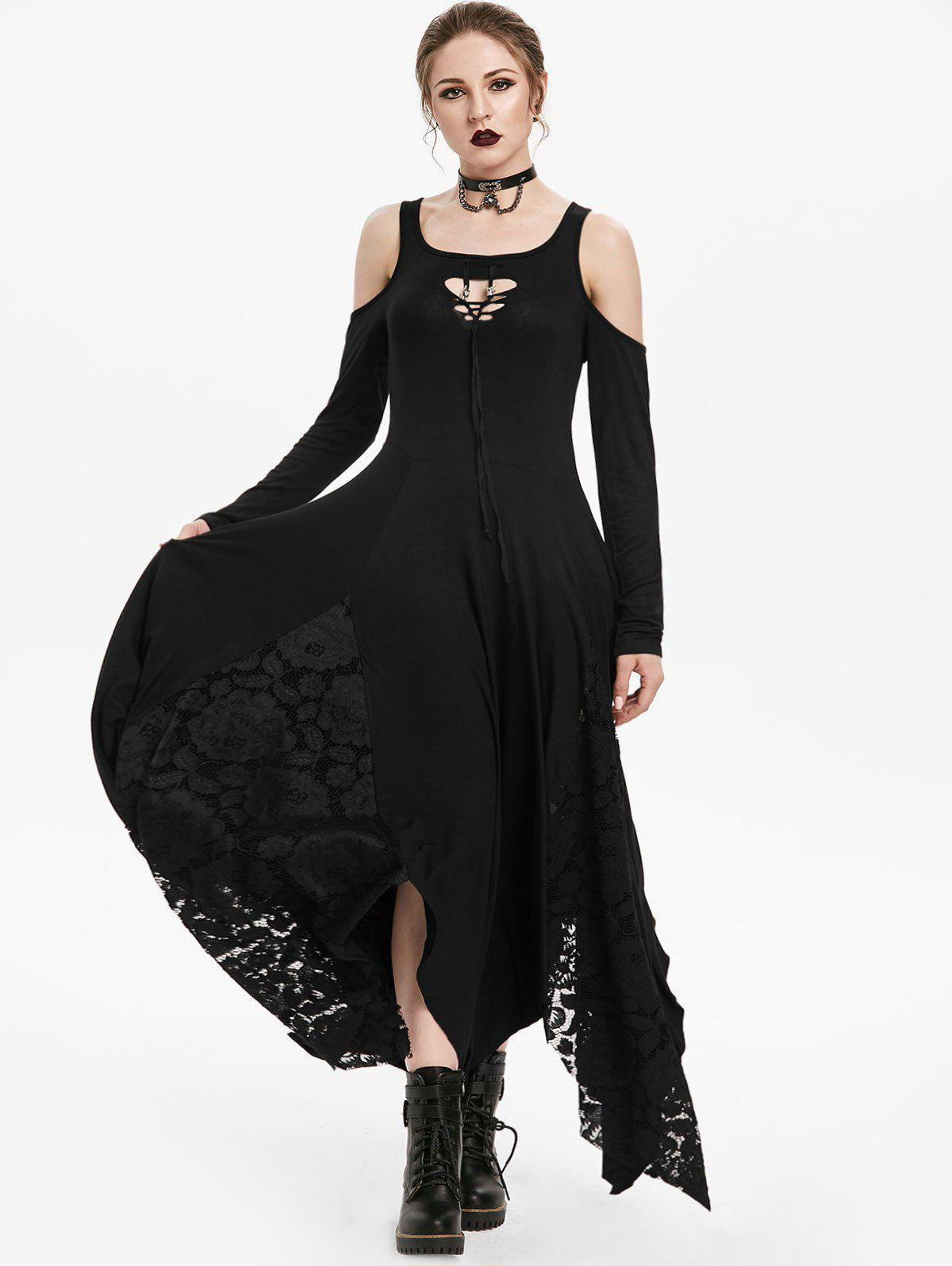 Gothic Cold Shoulder Lace Insert Handkerchief Dress - NIGHT L