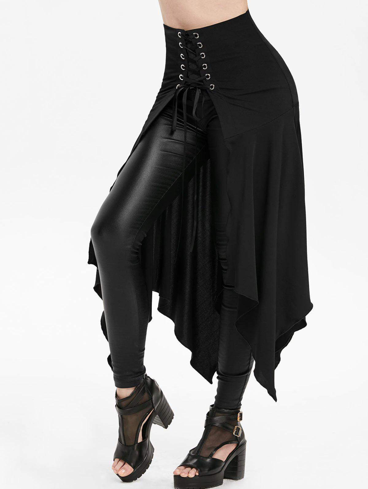 Asymmetric Lace-up Slit Front Skirt - BLACK 3XL