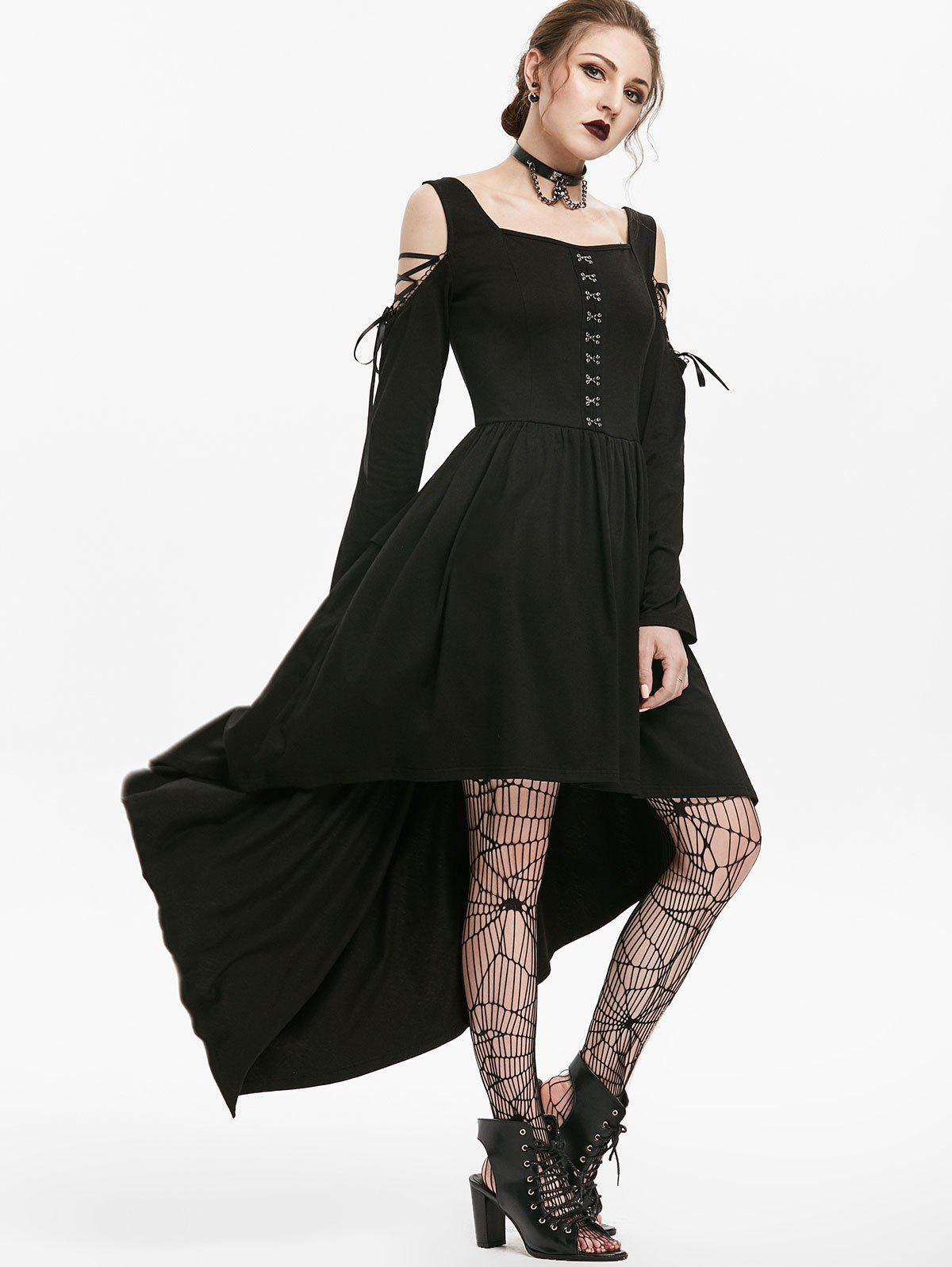 Gothic Lace Up Cold Shoulder Hook Front Dip Hem Dress - BLACK L