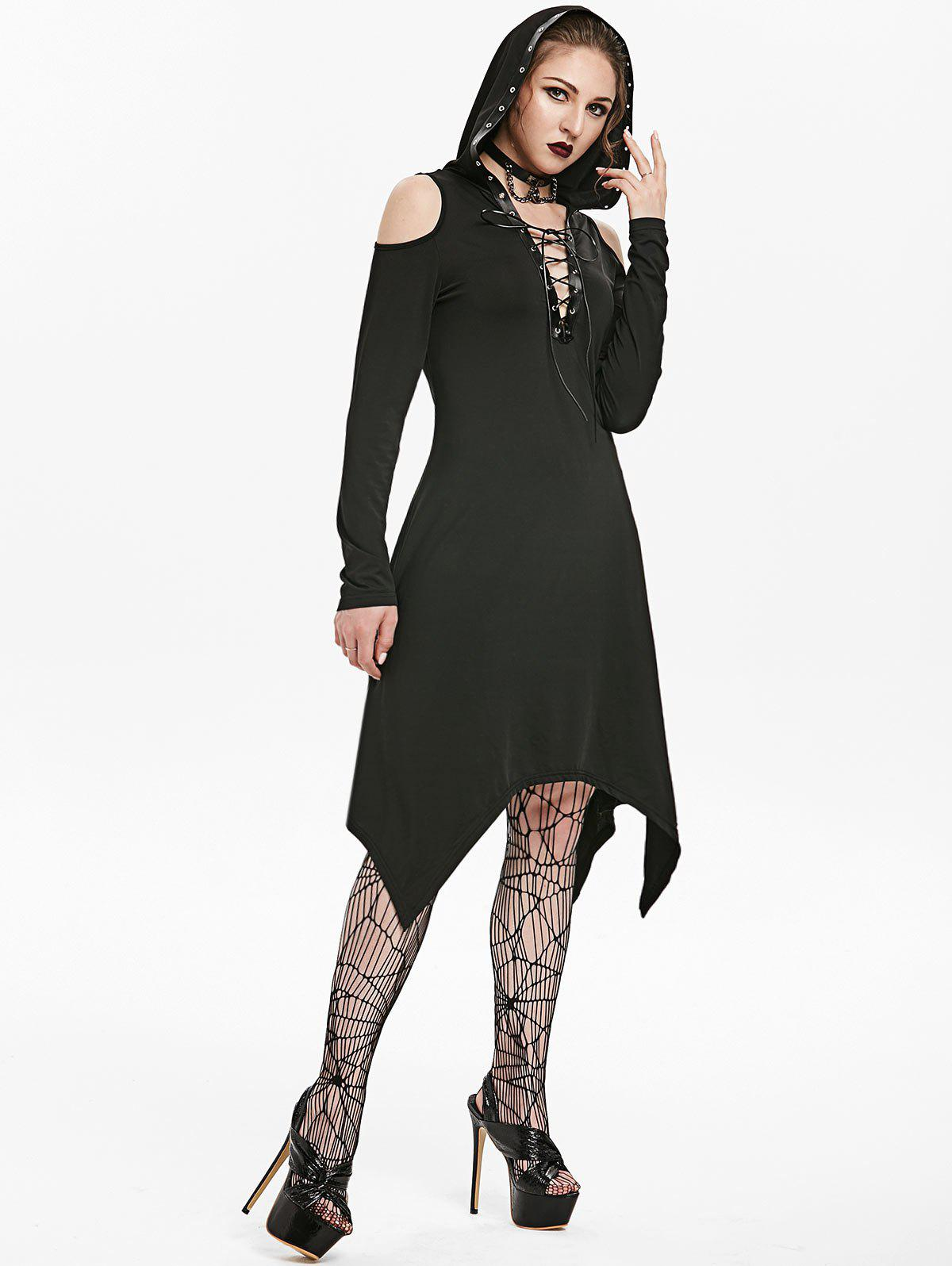 Hooded Lace-up Cold Shoulder Handkerchief Gothic Dress - BLACK L