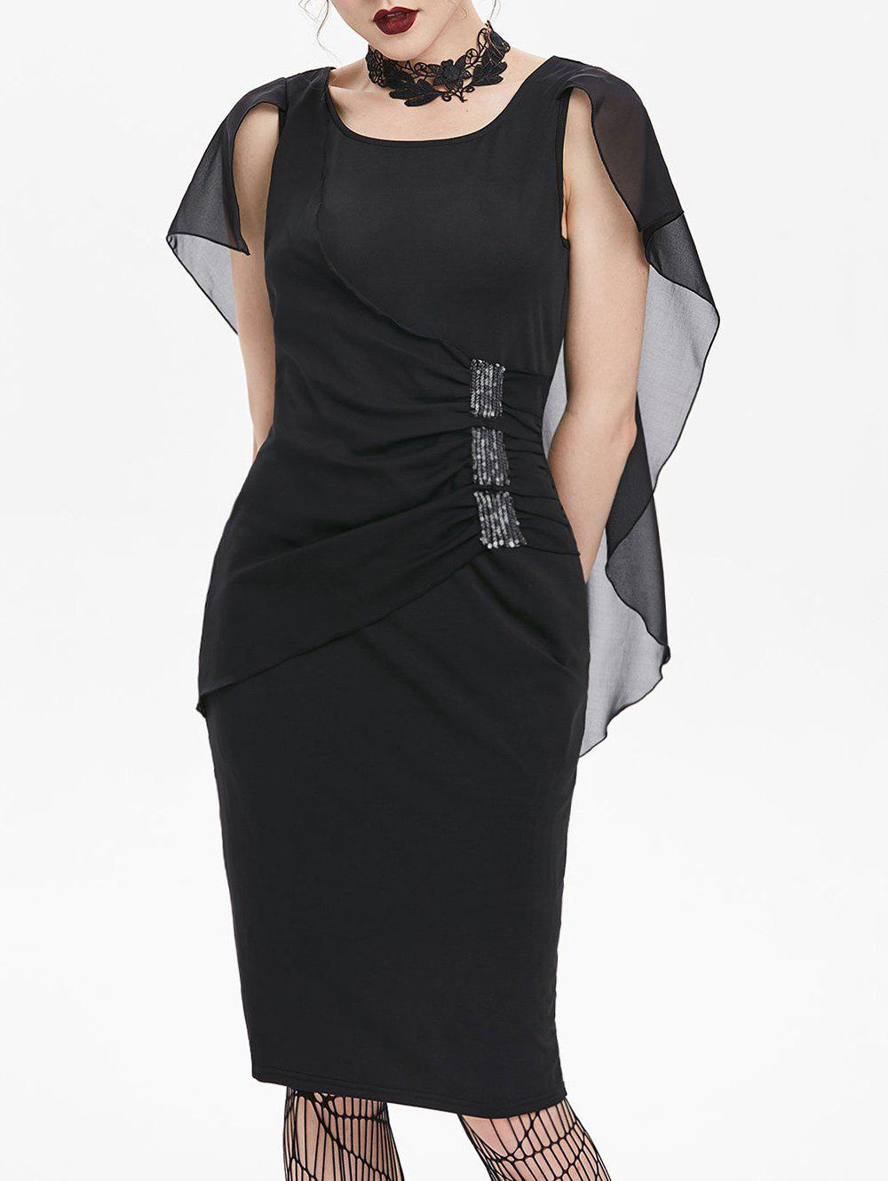 Chiffon Insert Ruched Cape Bodycon Gothic Dress - BLACK M