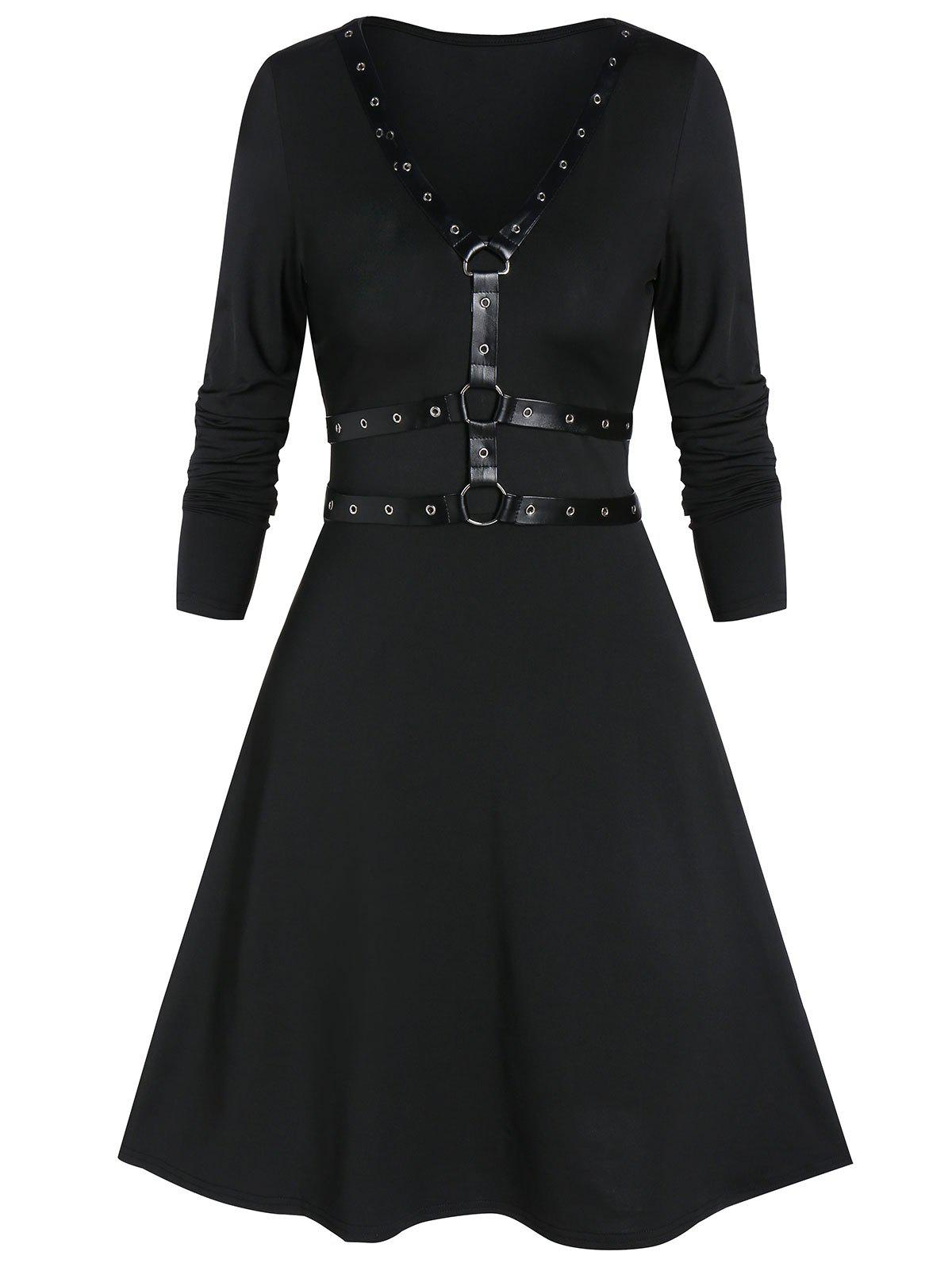 A Line Rings Solid Gothic Dress - BLACK M
