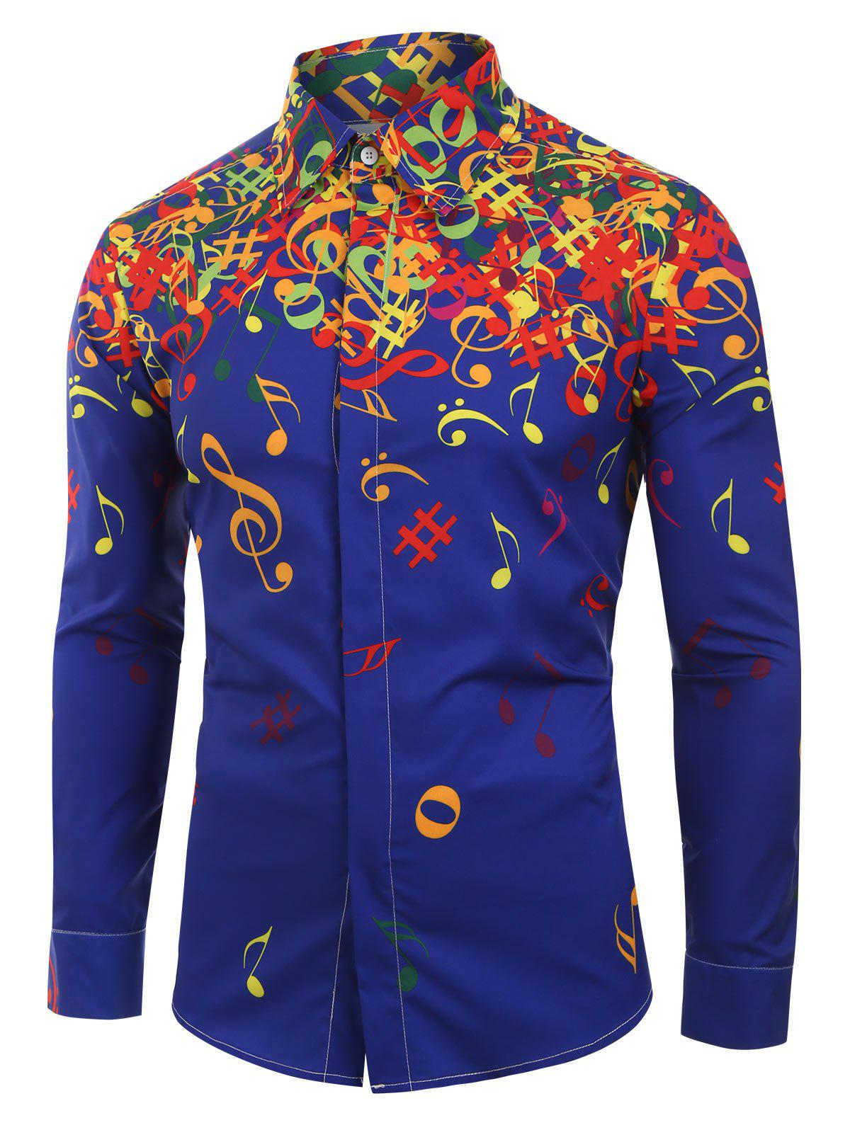 Musical Note Pattern Long Sleeves Shirt - BLUE S