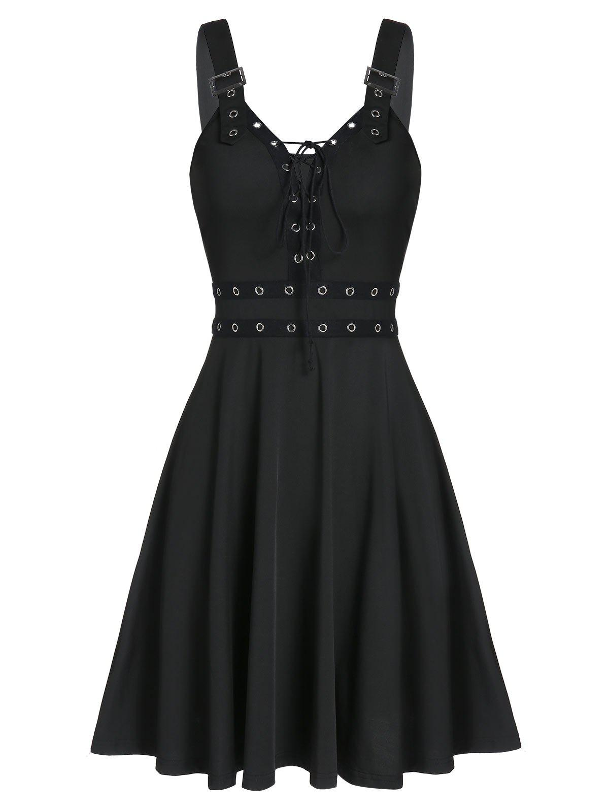 Lace Up Solid Fit And Flare Gothic Dress - BLACK 2XL
