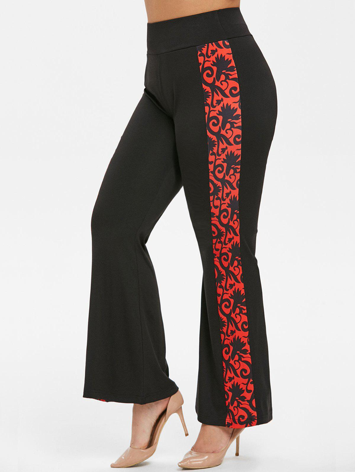 High Waisted Printed Plus Size Flare Pants - BLACK L