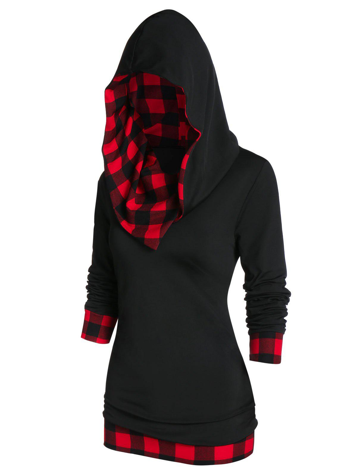 Checked Panel Hooded Long Sleeve T Shirt - BLACK M