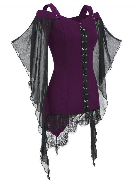 Gothic Criss Cross Lace Insert Butterfly Sleeve T-shirt - DARK ORCHID L