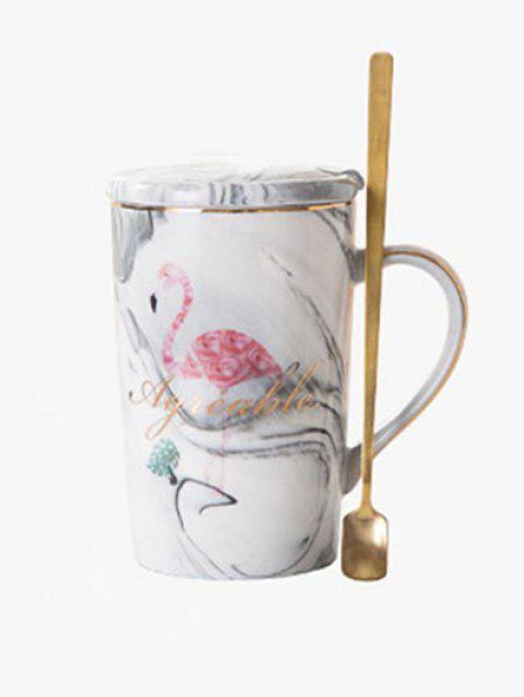 Flamingo and Marble Pattern Ceramic Water Cup with Lid - GRAY GOOSE