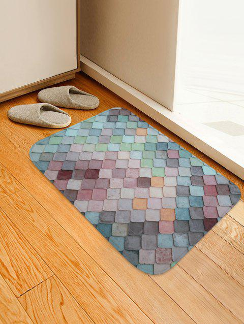 Colorful Geometric Pattern Tile Water Absorption Area Rug - BABY BLUE W16 X L24 INCH