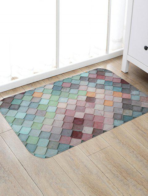 Colorful Geometric Pattern Tile Water Absorption Area Rug - BABY BLUE W20 X L31.5 INCH