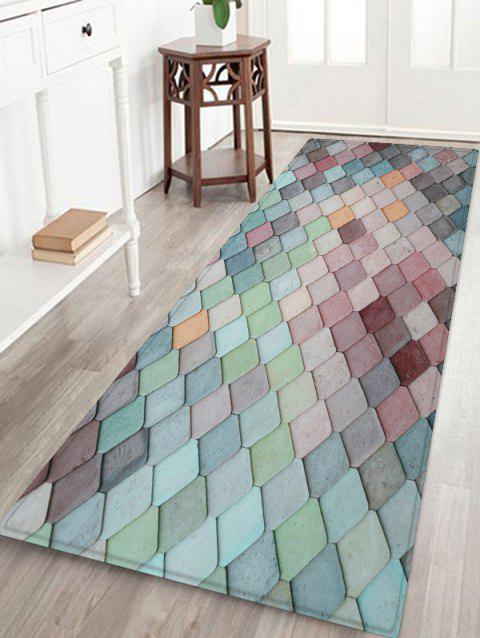 Colorful Geometric Pattern Tile Water Absorption Area Rug - BABY BLUE W24 X L71 INCH