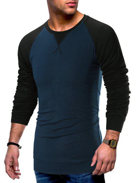 Color Block Casual Long Sleeves T-shirt - BLUE M